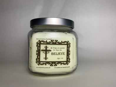 Believe - Mark 9:23 - 20oz Medium Candle - Amy's Vanilla Sugar Cookie®