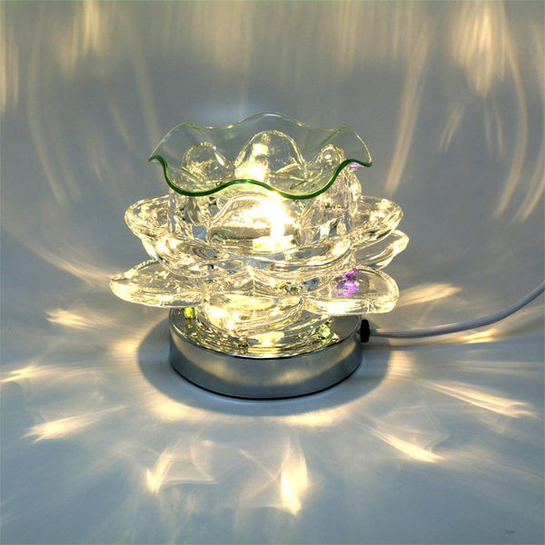 Electric Oil Warmer - Clear Lotus Touch Lamp - Amy's Country Candles