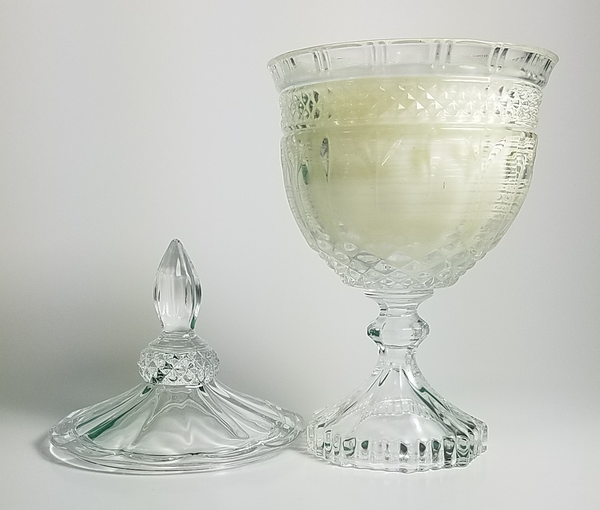 Petite Aimee Crystal Bowl with Lid in Gardenia - Amy's Country Candles