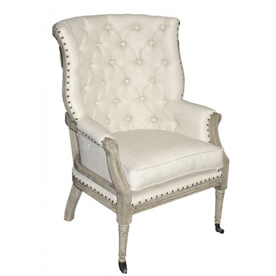 Amy's Romantic Linen Tufted Armchair - Amy's Country Candles