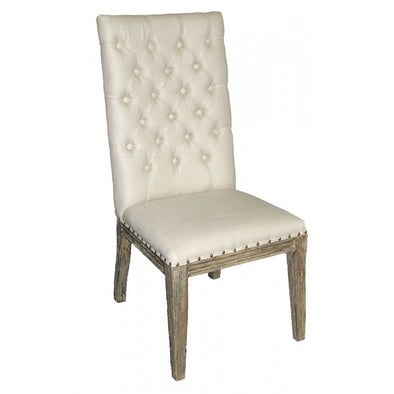 Amy's Romantic Linen Tufted Side Chair - Amy's Country Candles