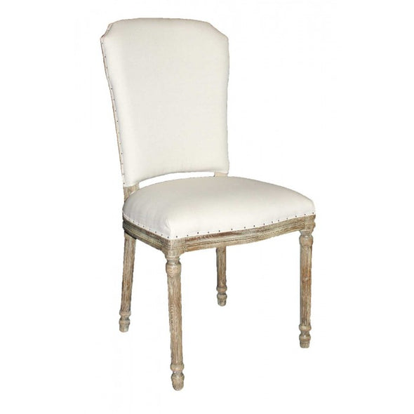 Amy's Romantic Smooth White Linen Side Chair - Amy's Country Candles