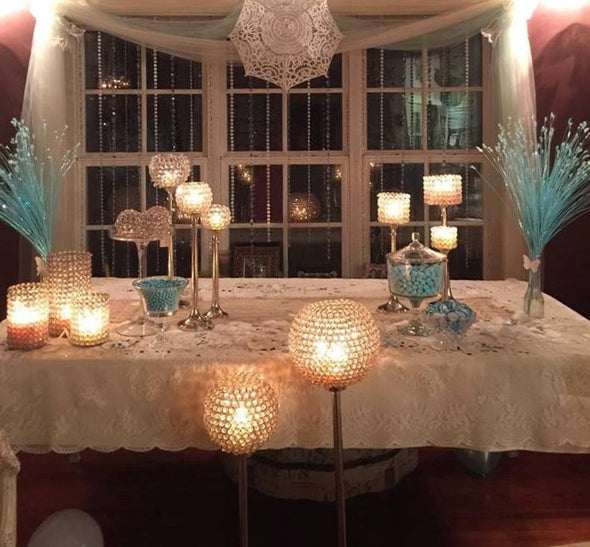 Crystal Diamond Square Round Candle Holder - Rental - Amy's Country Candles
