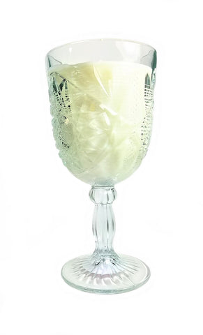 Cut Crystal Wine Glass filled with Gardenia - Amy's Country Candles