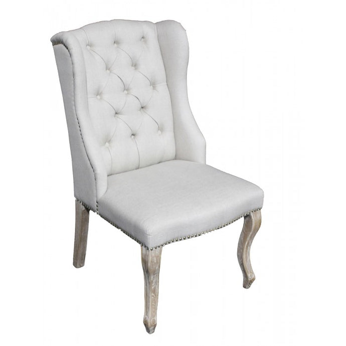 Amy's Romantic Linen Tufted Chair - Amy's Country Candles