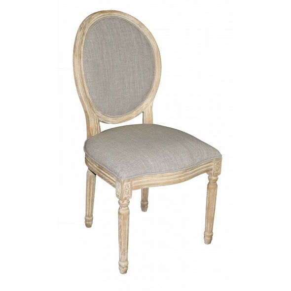 Amy's Romantic Smokey Gray Linen Side Chair - Amy's Country Candles