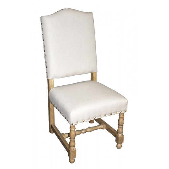 Amy's Romantic White Linen Side Chair - Amy's Country Candles