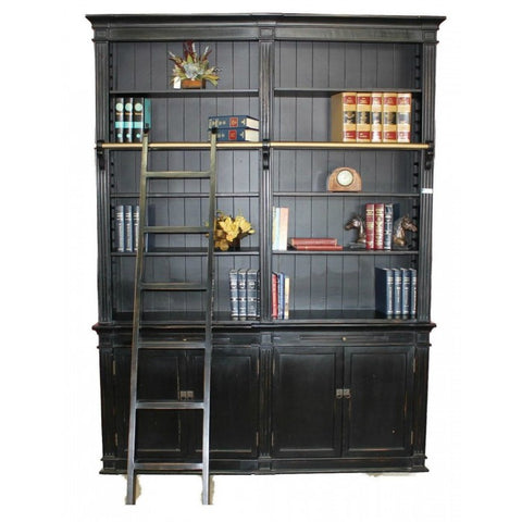Amy's Romantic Black Medium Bookcase with Ladder - Amy's Country Candles