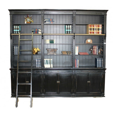 Amy's Romantic Large Black Bookcase with Ladder - Amy's Country Candles