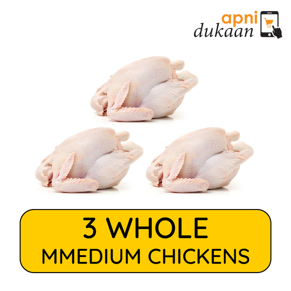 3 Whole Chickens Medium - Special - Apni Dukaan