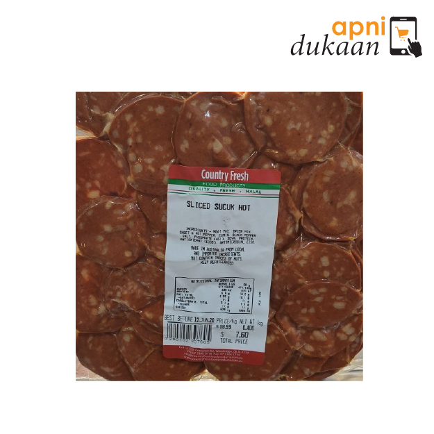 Sliced Sucuk Hot Beef Salami - 1 Pack - Apni Dukaan