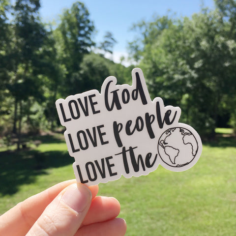 Christian Stickers, Love God Love People Love the World, Vinyl Stickers, Water Bottle Stickers, Laptop Stickers, Decal, Christian