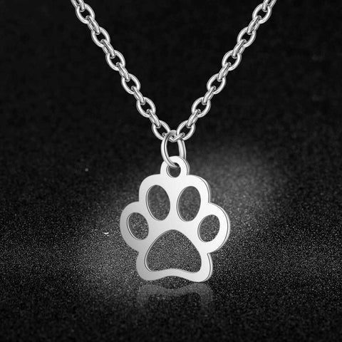 Simple Design Animal Paw Charm Necklace 100% Stainless Steel Pendant Necklace Never Tarnish Hollow Pet Paw Pendant Necklaces
