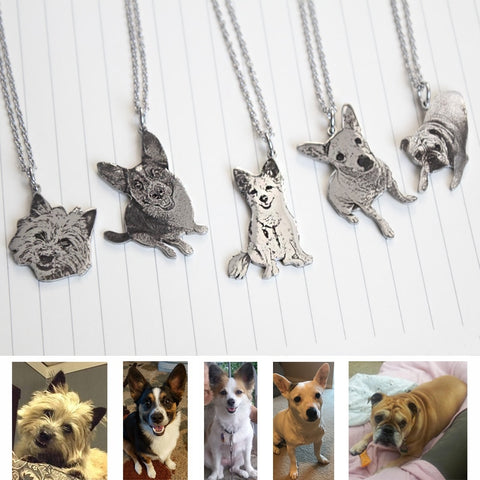 Custom carved stainless steel pet photo necklace custom necklace men and women gift necklace