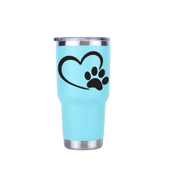 Dog Paw 30 oz Tumbler Travel Car Beer Mug Water Bottle Vacuum Flasks Insulated Stainless Steel Thermos Coffee mugs Party Gift