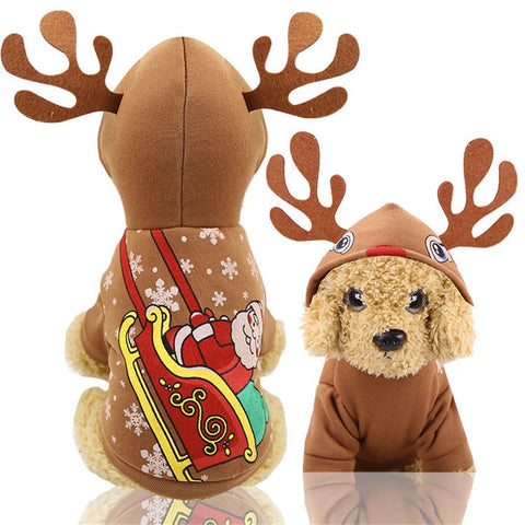 pet dog clothes Christmas pet clothes moose antlers decorative dog hooded jacket autumn and winter warm legs winter new clothing