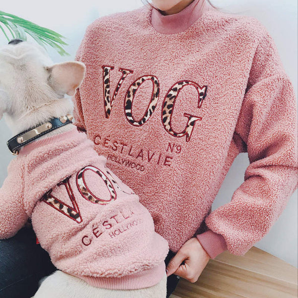 Fleece Family Clothes For Dog Christmas Parent-Child Matching Outfit Winter Warm Dog Coat Jacket Bulldog Pet Cat Pajamas Hoodie