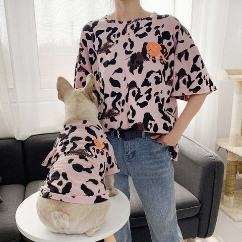 Dog Parent-Child Matching Outfit Family Clothes Leopard Summer Small Medium Pet Cat Clothes Hoodie Shirt Pajamas Women Men Shirt