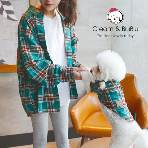 Dog Parent-Child Matching Outfit Family Clothes Lattice Summer Small Medium Pet Cat Clothes Hoodie Shirt Pajamas Women Men Shirt