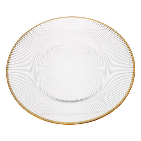 Ribbed Glass Underplate with Gold Rim