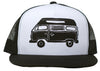 Camper Van Structured Trucker Hat in Black