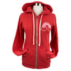 Rainbow Unisex Fleece Hoodie Zip in Retro Red