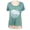 Believe in Mountains Women's Raw Hem Tee in Glacier Blue