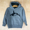 Orca, Save the Whales Kid's Pullover Hoodie in Grey