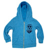 Peace, Love, Dog Kid's Zip Hoodie in Heathered Blue