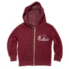 Pacific Northwest Kid's Zip Hoodie in Rugby Red