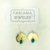 Eclipse + Stone Hammered Metal Earrings by Cascadia Jewelry