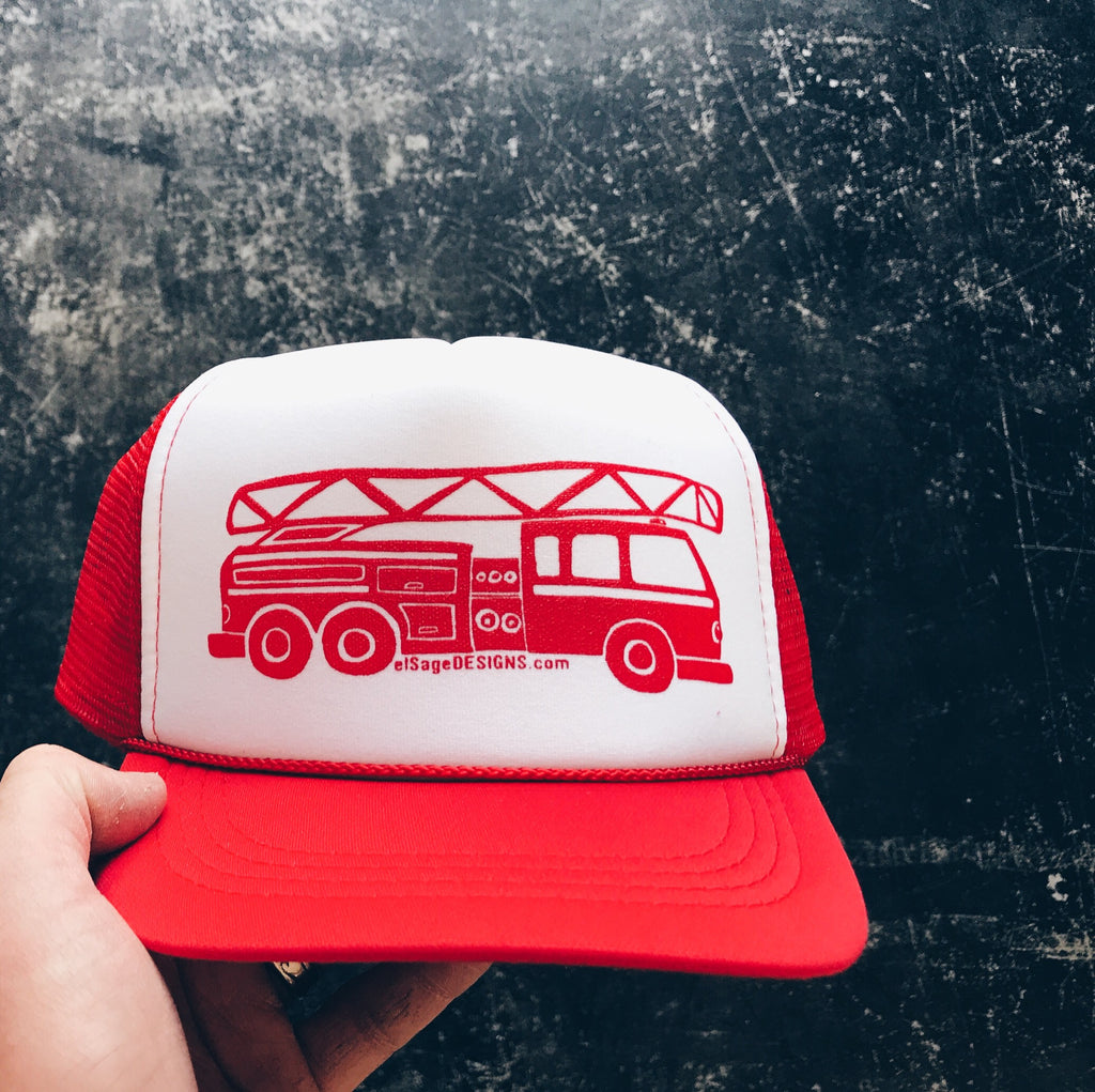 Fire Truck Kids Trucker Hat in Red   White Color Block – elSageDesigns 1d0a496928a