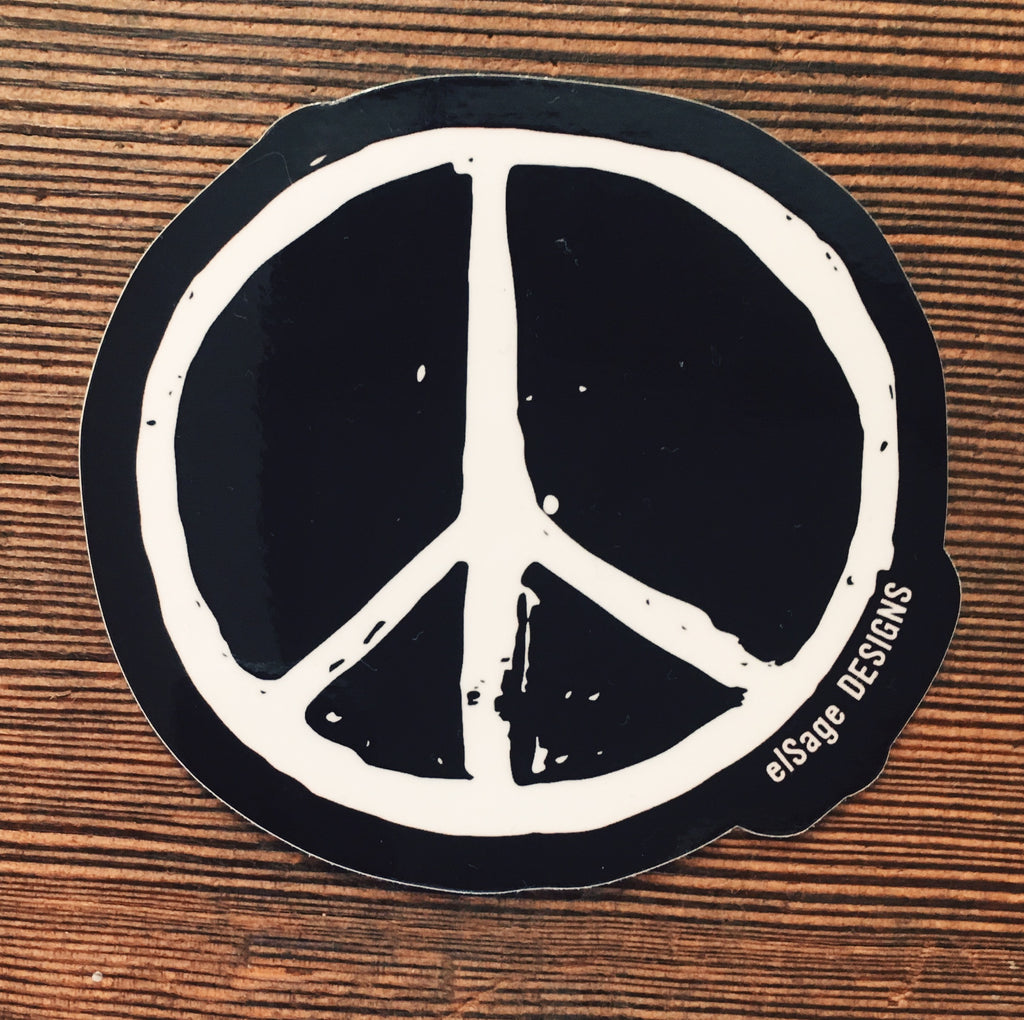 Peace sticker in black and white elsagedesigns