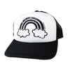 Rainbow City Trucker Hat in Black and White