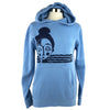 Topknot Girl Unisex Pullover Hoodie in Light Blue