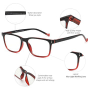 Rectangle Frame Blue Light Blocking Reading Glasses - Eye Wear Blue