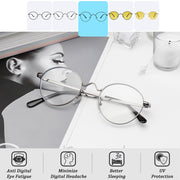 Anti Blue Light Glasses Korean Round Metal Frame - Eye Wear Blue
