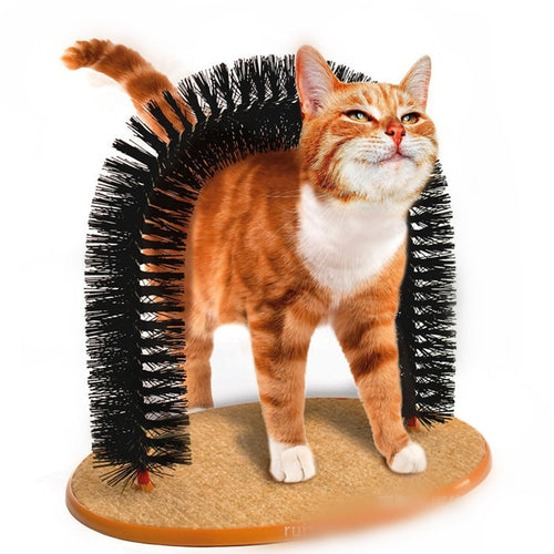 Arch Pet Cat Self Groomer With Round Fleece Base Cat Toy Brush Toys For Pets Scratching catching Devices Quick Clean - Haim Place