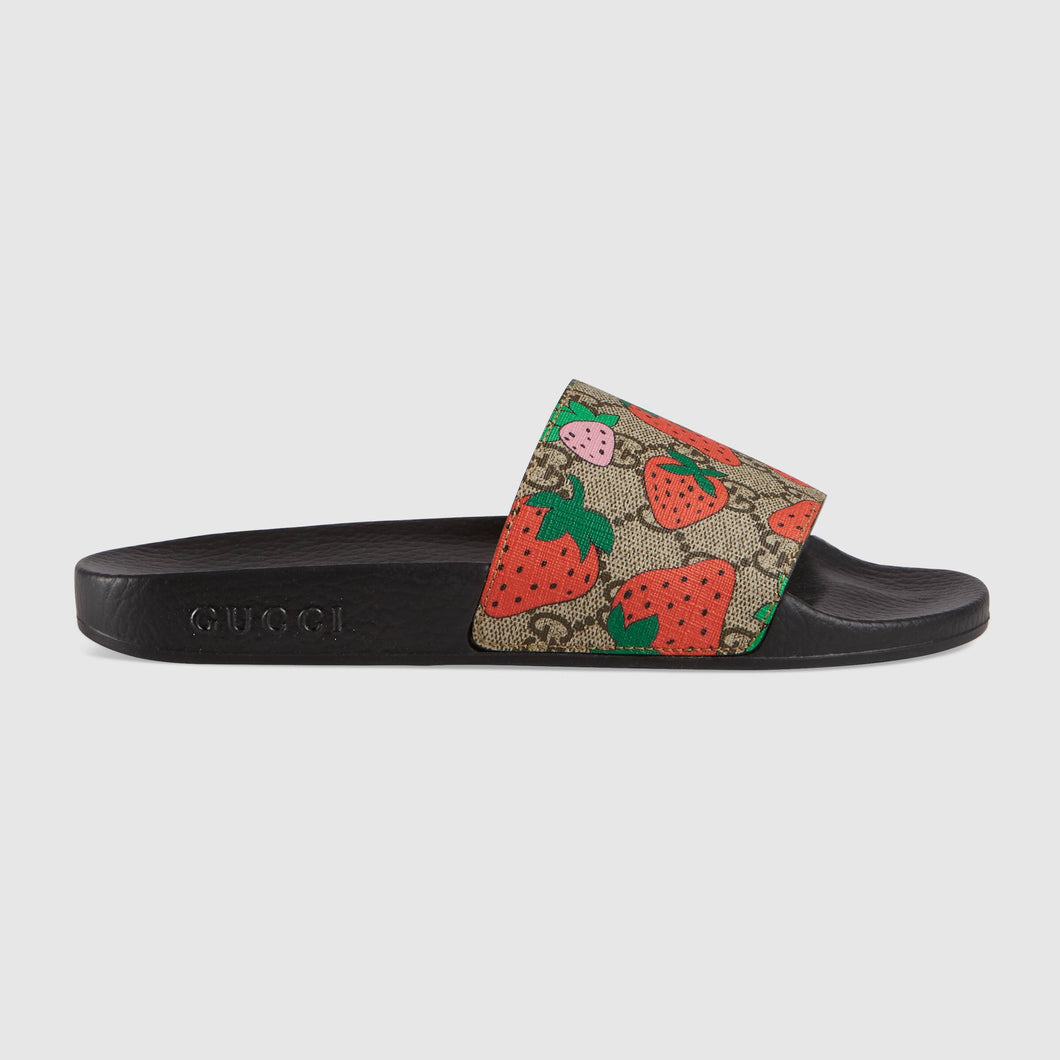 Gucci GG Strawberry slide sandal 408508 G2200 8919 - Haim Place
