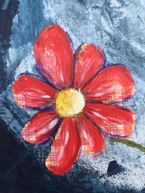 "Original Mixed Media Painting – on canvas board, 30x60cm ""You don't bring me flowers"""