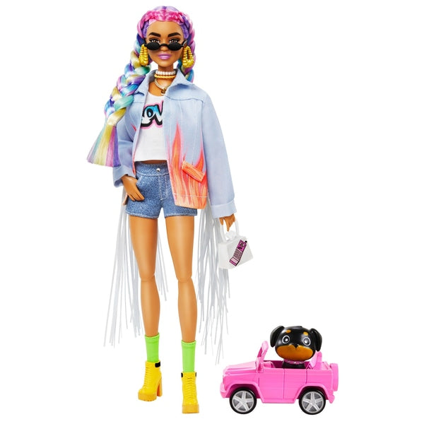 Barbie Extra Doll in Denim Jacket with Pet Puppy