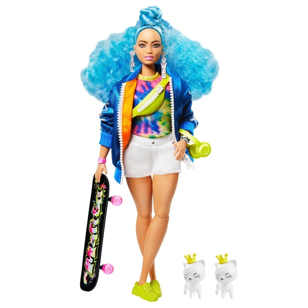 Barbie Extra Doll with Skateboard and 2 Pet Kitten Toys
