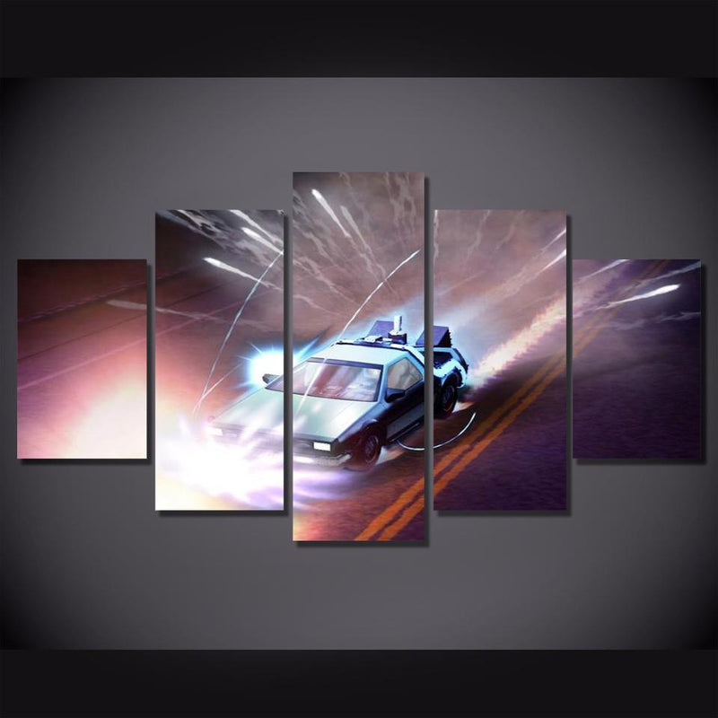 5Piece Picture For Living Room Home Decor Quadros Wall Canvas Printed Art Car Wall Picture Back To Future