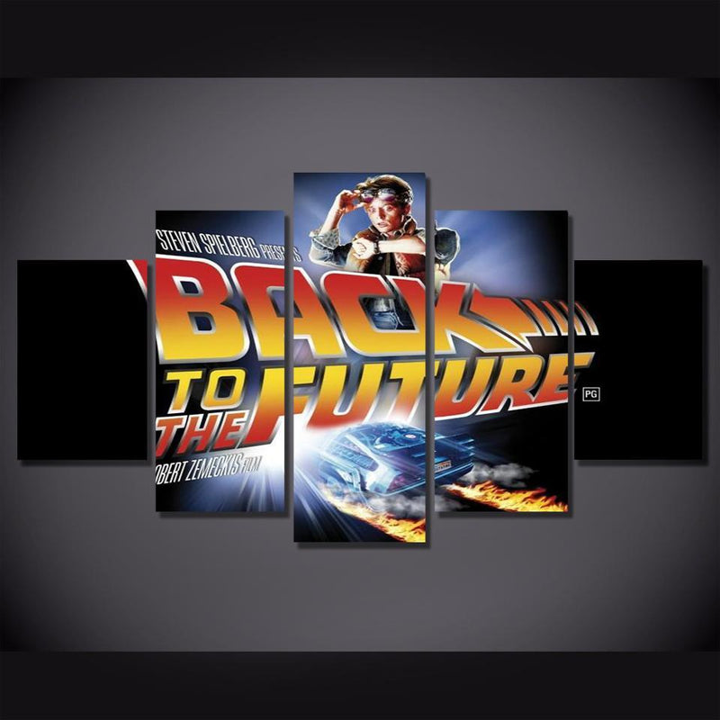 5Piece Picture For Living Room Quadro Decor Back To Future Movie Poster Wall Canvas Printed