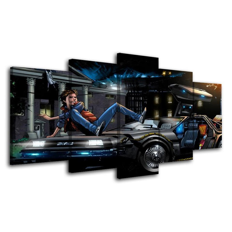 5Piece Wall Picture Printed Art Wall Car Wall Art Back To Future Movie Painting Picture
