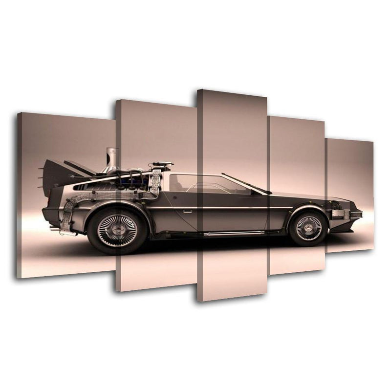 5Piece Picture For Living Room Cuadro Decor Wall Canvas Printed Art Car Wall Picture Back To Future