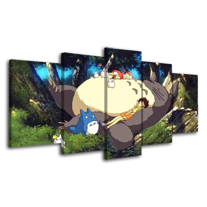 5 Piece Anime Prints Poster Totoro Cartoon Painting Wall Canvas Picture