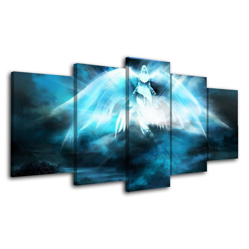 5Piece Game Canvas Blue Painting Wall Pictures World Of Warcraft Wall Art Prints Poster