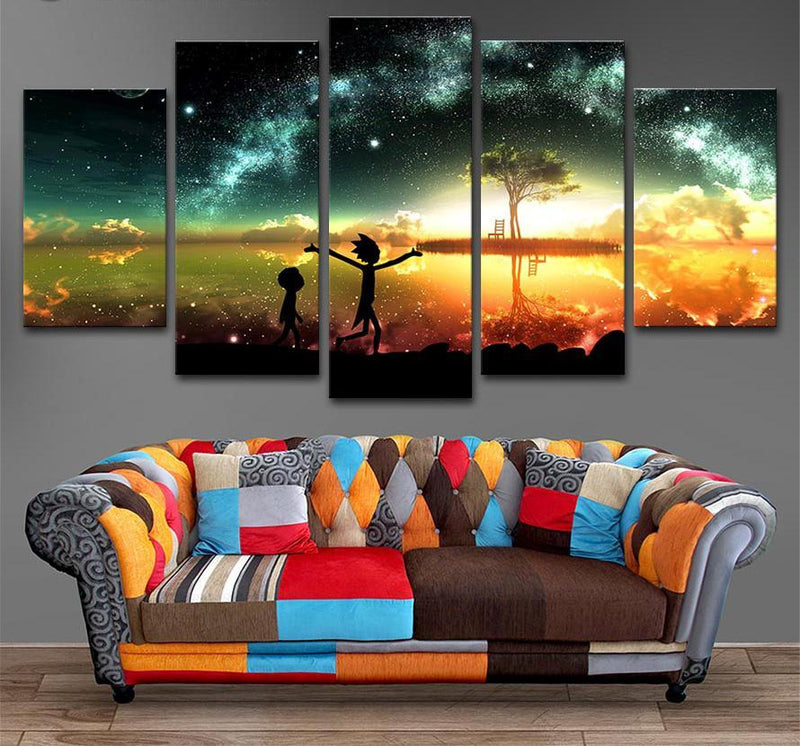 5 Piece Wall Prints Rick and Morty poster Canvas Picture Art Painting