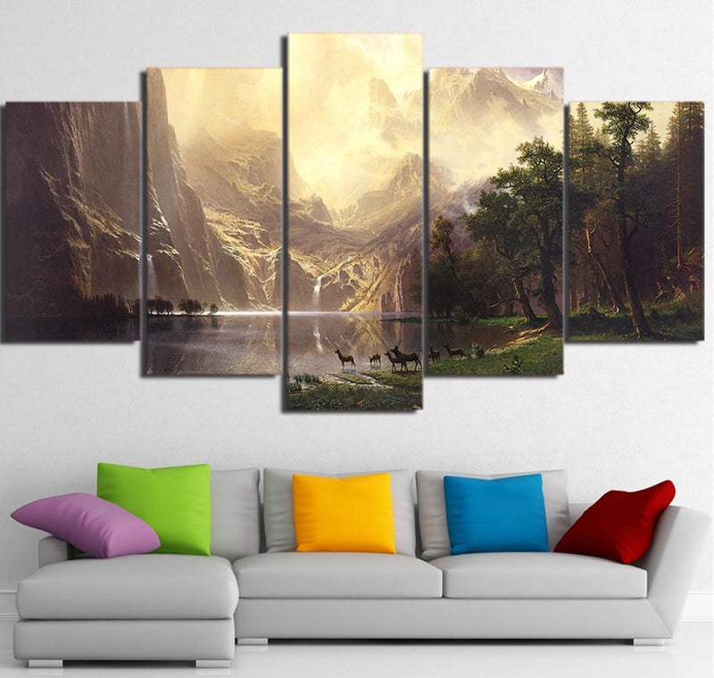 5 Piece Wall Art Painting Mountain Lake Deers Canvas Art Painting Poster Decor Picture